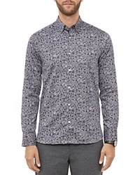 Ted Baker Floral Print Regular Fit Button Down Shirt Navy