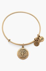 Women's Alex And Ani 'Initial' Adjustable Wire Bangle L Russian Gold