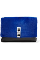 Proenza Schouler Elliot Shearling Leather And Suede Clutch Bright Blue