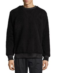 Helmut Lang Faux Sherpa Crew Neck Sweater W Leather Trim Black