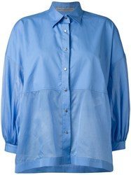 Ermanno Scervino Balloon Sleeves Shirts Blue