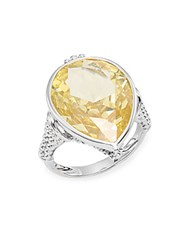 Judith Ripka Bermuda Canary Crystal And Sterling Silver Pear Ring Silver Yellow