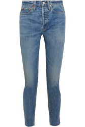 Re Done Originals Cropped Frayed High Rise Straight Leg Jeans Blue
