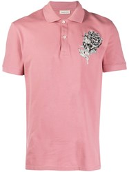 Alexander Mcqueen Graphic Print Polo Shirt Pink