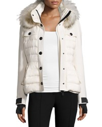 Moncler Quilted Ski Jacket W Fur Hood Cream