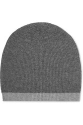 Duffy Two Tone Ribbed Wool And Cashmere Blend Beanie Dark Gray