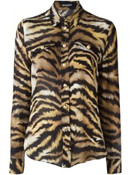 Balmain Zebra Print Shirt Brown