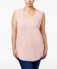 Melissa Mccarthy Seven7 Trendy Plus Size Ribbed High Low Top Silver Pink