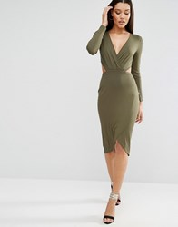 Asos Long Sleeve Cut Out Drape Midi Dress Khaki Black