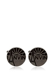 Lanvin Engraved Enameled Brass Cufflinks