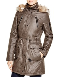 Laundry By Shelli Segal Anorak With Faux Fur Trim Smokestone