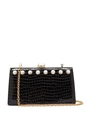 Miu Miu Solitaire Crystal Embellished Leather Clutch Black