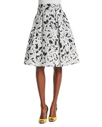 Carolina Herrera Parrot Tulip Fil Coupe Skirt Black White