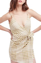 Free People Nodia Check Wrap Minidress Olive