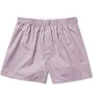 Sunspel Polka Dot Cotton Jacquard Boxer Shorts Purple