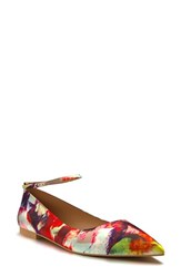 Women's Shoes Of Prey Ankle Strap Flat Red Multi Satin