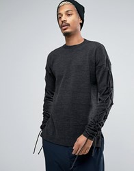 Asos Relaxed Fit Jumper With Lace Up Sleeves Grey