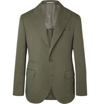Brunello Cucinelli Army Green Wool And Cotton Blend Twill Suit Jacket Green