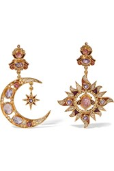 Percossi Papi Gold Plated Multi Stone Earrings Gold Pink
