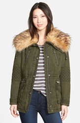 Guess Drawcord Waist Anorak With Removable Faux Fur Collar Olive