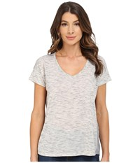 Calvin Klein Jeans Short Sleeve V Neck Keyhole Heather Tee Newspaper Heather Women's T Shirt Gray