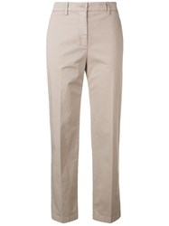 Aspesi Cropped Slim Fit Trousers Neutrals