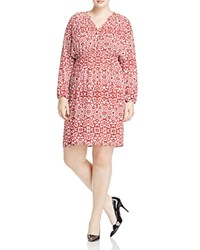 Foxcroft Plus Liza Tile Print Dress Ruby Red