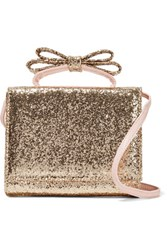 Red Valentino Redvalentino Bow Embellished Glittered Leather Shoulder Bag Gold