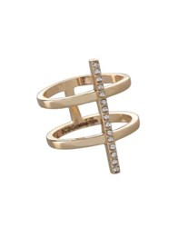 Bcbgeneration Cubic Zirconia Studded Two Row Ring Gold