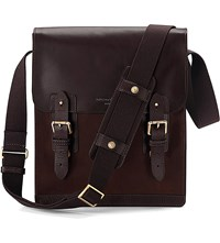 Aspinal Of London Shadow Leather And Nubuck Messenger Bag Brown