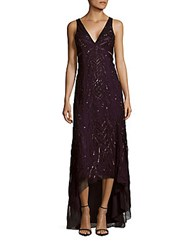 Adrianna Papell Sequined Hi Lo Dress Amethyst