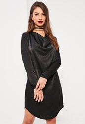 Missguided Black Cowl Neck Satin Dress