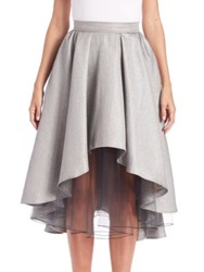 Abs By Allen Schwartz Layered Metallic Hi Lo Skirt Silver