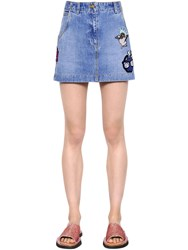 Kenzo Patches Washed Cotton Denim Mini Skirt