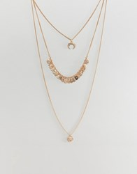 New Look Coin Charm Layered Necklace Gold