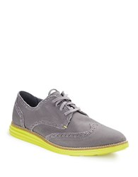 Cole Haan Original Grand Wingtip Loafers Grey Canvas