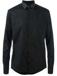 Les Hommes Studded Collar Long Sleeve Shirt Black