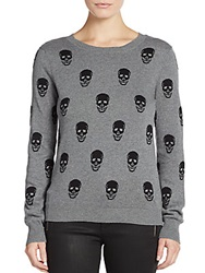 Saks Fifth Avenue Red Skull Sweater Heather Grey
