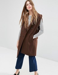 Asos Sleeveless Cape With Double Breasted Detail Brown