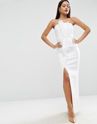 Asos Red Carpet Organza Bandeau Scuba Maxi Dress Ivory White