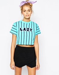 Lazy Oaf Cropped T Shirt In Stripes With Lazy Logo Blue
