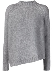 Joseph Asymmetric Hem Crew Neck Sweater Grey