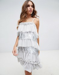 Lost Ink Mini Cami Dress With Contrast Embellished Layers Grey