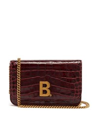 Balenciaga B. Logo Crocodile Effect Leather Cross Body Bag Dark Red