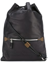 Salvatore Ferragamo Drawstring Backpack Men Calf Leather One Size Black
