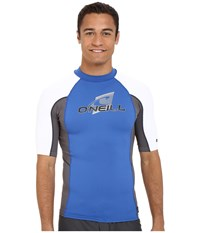 O'neill Skins S S Crew Deep Sea Graphite White Men's Swimwear Blue