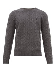 Polo Ralph Lauren Logo Embroidered Cable Knit Wool Blend Sweater Grey