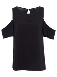 French Connection Classic Crepe Light Cut Out Shoulder Top Black