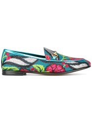 Gucci Jordaan Floral Jacquard Loafers Women Leather Polyurethane 37 Almond