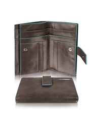 Piquadro Blue Square Women's Leather Card Holder And Id Wallet Dark Brown